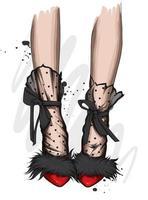 Frauenbeine in schönen hochhackigen Schuhen. Mode und Stil, Schuhe und Accessoires. vektor