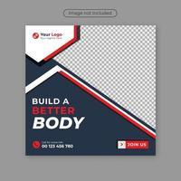 Fitness-Studio Social Media Geschichte und Post-Banner-Design-Vorlage. vektor