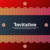 Gruß-Einladungs-Karte mit traditionellen orientalischen und Magnolien-Blüten-Symbolen vektor
