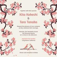 Sakura Hochzeit Einladung Vektor Vorlage