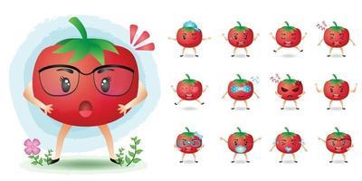 niedliche Maskottchen-Tomaten-Zeichensatz-Sammlung vektor