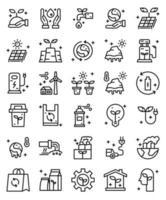 Umwelt, umweltfreundlich 30 einfache Liniensymbole vektor