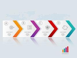 horizontale Infografik-Präsentationselementvorlage des abstrakten Pfeils mit Geschäftssymbolen vektor