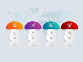 Vorlage für abstrakte Etiketten-Infografiken-Präsentationselemente mit Geschäftsikonen vektor