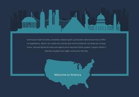 Berömda USA Landmark Advertising Graphic