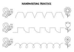 Linien mit schwarz-weißem Schmetterling und Blumen verfolgen. Schreiberfahrung. vektor