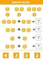 Zusatz für Kinder mit niedlicher kawaii Sonne. vektor