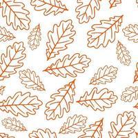 nahtloses Muster mit herbstlichen Eichenblättern in Orange, Beige, Braun. Perfekt für Tapeten, Geschenkpapier, Musterfüllungen, Webseitenhintergrund, Herbstgrußkarten. vektor