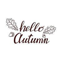 handgezeichnete Schrift mit dekorativen Elementen, Herbstlaub. Text Hallo Herbst auf dem weißen Hintergrund. Vektorillustration. Perfekt für Drucke, Flyer, Banner, Einladungen vektor