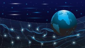 blått nät med jordglob abstrakt teknik bakgrund vektor