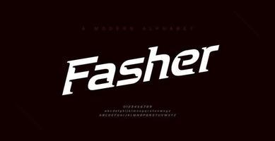 Sport moderne kursive Alphabet Schriftarten und Zahlen. Typografie, Zusammenfassung, Technologie, Sport, Digital, Rennen, Branding kreative Logo-Schriftart. vektor