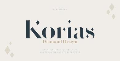 elegante Alphabet Buchstaben Serifenschrift und Nummer. Luxus klassische Schrift minimal Mode. Typografie-Schriftarten in regulären Groß- und Kleinbuchstaben. vektor