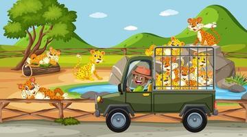 Safari-Szene mit Kindern auf Touristenauto, das Leopardengruppe beobachtet vektor