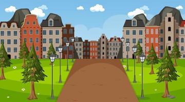 leerer Park in der Stadtszene zur Tageszeit vektor