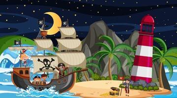 Insel mit Piratenschiff bei Nacht Szene im Cartoon-Stil vektor