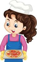 Kochmädchen-Zeichentrickfigur mit Pizzatablett vektor