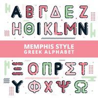 memphis stil grekiska alfabetet vektor
