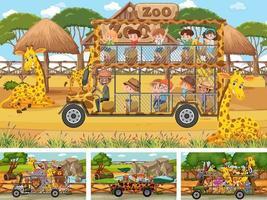 verschiedene Safari-Szenen mit Tier- und Kinder-Zeichentrickfigur vektor