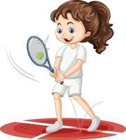 süßes Mädchen, das Tenniszeichentrickfigur isoliert spielt vektor