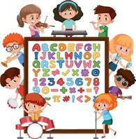 Alphabet-Tafel von a bis z mit vielen Kindern, die verschiedene Aktivitäten ausführen vektor
