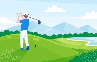 Mann, der Golf auf dem Feld spielt vektor