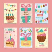 Geburtstagskartensammlung im Doodles-Stil vektor