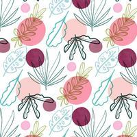 Girly Muster mit Blättern und Formen vektor