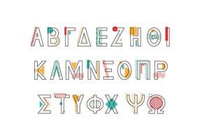 memphis stil grekisk alfabet vektor