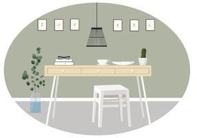 Vektorrum och möbelillustration vektor