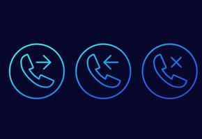 telefonsamtal, inkommande, utgående, missade raden vektor ikoner