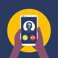 unbekannter Anrufer, Telefonanruf, Smartphone in Händen Vektorsymbol vektor