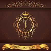 heraldiskt alfabet guld premium design i vektor