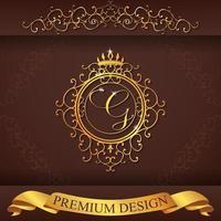heraldiskt alfabet guld premium design g vektor