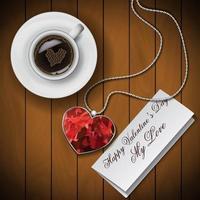 Kaffee mit Notiz und Herzanhänger vektor