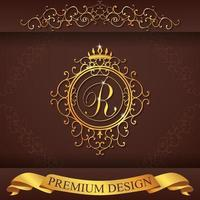 heraldiska alfabetet guld premium design r vektor
