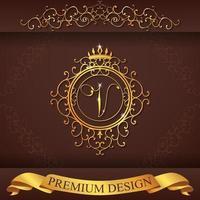 heraldiska alfabetet guld premium design v vektor