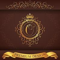 heraldiska alfabetet guld premium design o vektor