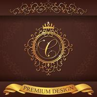 heraldiskt alfabet guld premium design c vektor