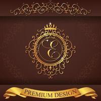 heraldiska alfabetet guld premium design e vektor