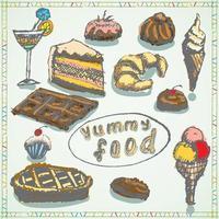 Nahrungsmittelskizze lokalisiert auf weißem Hintergrund vektor