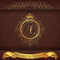 heraldiska alfabetet guld premium design x vektor