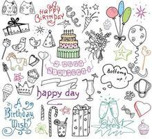 Geburtstagsfeier Elemente farbige handgezeichnete Skizze mit Zahlen vektor