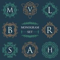 Monogramm Logos Set Grafik Logo Vorlage gedeiht elegante Ornament Linien. Geschäftszeichen, Identität für Restaurant, Lizenzgebühr, Boutique, Hotel, Wappen, Schmuck, Mode, Vektorillustration vektor