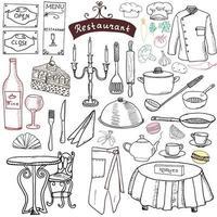 restaurang skiss doodles set. handritad element mat och dryck, kniv, gaffel, meny, kock uniform, vinflaska, servitör förkläde ritning doodle samling, isolerad på vit vektor