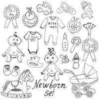 Neugeborenes Spielzeug isoliert skizzieren vektor