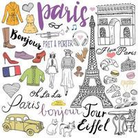 Paris kritzelt Elemente. Hand gezeichnetes Set mit Eiffelturm gezüchtetem Café, Taxi-Triumfbogen, Modeelementen, Katze und französischer Bulldogge. Zeichnung Gekritzelsammlung und Beschriftung, lokalisiert auf Weiß vektor