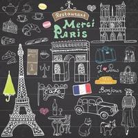 Paris kritzelt Elemente. handgezeichnetes Set mit Eiffelturm gezüchtetem Café, Taxi-Triumfbogen, Kathedrale von notre dame, Gesichtselementen, Katze und französischer Bulldogge. Zeichnung Gekritzel Sammlung, auf Tafel vektor