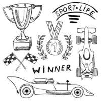 Sport Auto Artikel Kritzeleien Elemente. Hand gezeichneter Satz mit Flaggensymbol. Zielflieger mit Ziel- oder Rennflaggen. Medaille und rasendes Auto, Rennvektorillustration. Zeichnungskritzelsammlung lokalisiert auf Weiß vektor