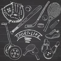 Sportskizze kritzelt Elemente. Hand gezeichnetes Set mit Baseballschläger und Handschuh, Segway Bowlong, Hokkey-Tennisartikel, Zeichnungskritzelsammlung, lokalisiert auf weißem Hintergrund. vektor