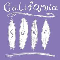 surfa kalifornien blått på vitt vektor